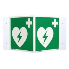 Lifeline AED rechtwinkliges Nasenschild 15x15cm